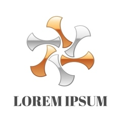 Abstract gold-silver logo vector