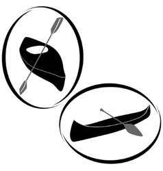 Badges with canoes and kayaks vector image