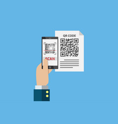 business hand holding smartphone to scan qr code vector image vector image