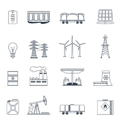 Energy icons outline set vector image vector image