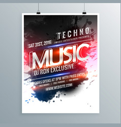 music party promotional flyer poster template vector image vector image