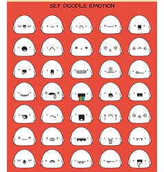 Set of 70 stickers cute sketch characters with vector image