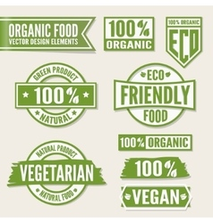 Set of bright green labels and logo Natural eco vector image vector image