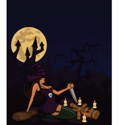 witch with voodoo doll vector image vector image
