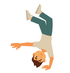 young breakdancer stands up-side down on one hand vector image