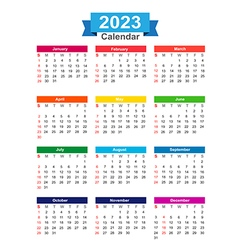 2023 Year calendar isolated on white background vector image vector image