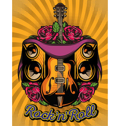 color poster template with guitar speakers and vector image vector image