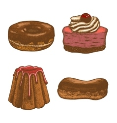 colored set of doughnut pastry cake eclair vector image vector image