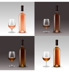 Set of Wine Bottles and Glasses Isolated vector image vector image