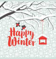 winter landscape with snow-covered tree and birds vector image