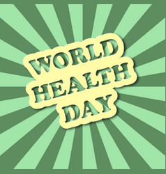 World health day text in comics style with green vector