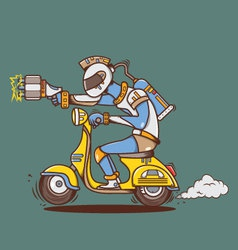 Big laser gun alien with yellow vespa vector image
