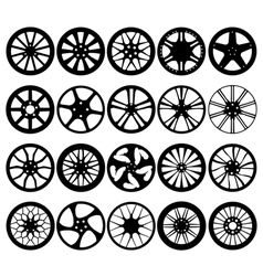 Car wheel rim silhouettes vector