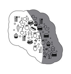 contour cloud color food blackground icon vector image