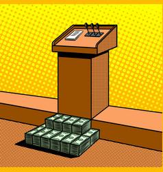 Corruption metaphor in politics pop art vector