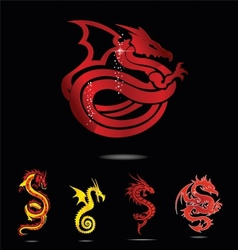 elegance asia dragon set isolated vector image