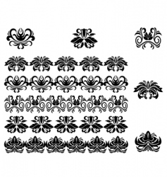 flower patterns and borders vector image vector image