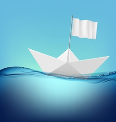paper boat with a white flag floats on the water vector image