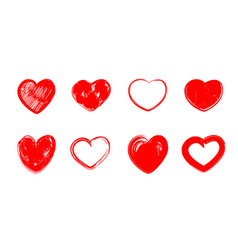 red grunge hearts vector image vector image