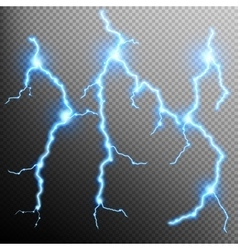 Set of the isolated realistic lightnings EPS 10 vector image vector image