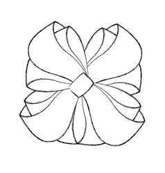 sketch draw christmas bow cartoon vector image