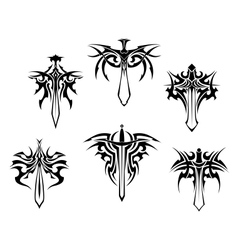 Tattoo with swords and daggers vector image vector image