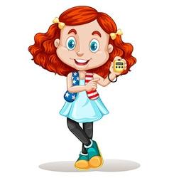American girl holding stopwatch vector