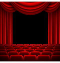 an auditorium with a red curtain vector image