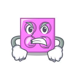 Angry toy brick mascot cartoon vector