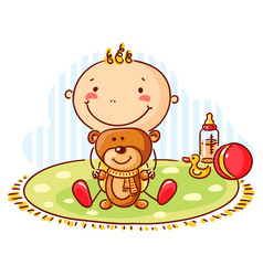 baby and teddy bear vector image