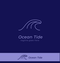 Big ocean tide wave logo icon symbol with round vector