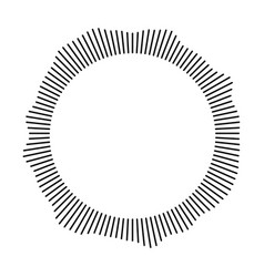 black ring of short thin rays with wavy silhouette vector image