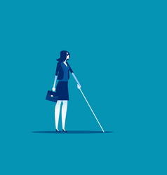 Blind woman with cane walking concept business vector