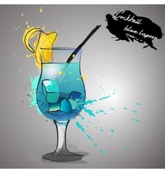 Blue lagoon cocktail with color splash vector