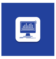 blue round button for analytics processing vector image