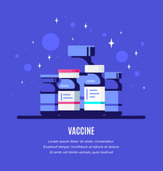 bottles vaccine on blue background flat style vector image
