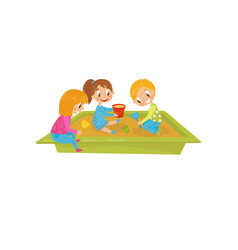 boy and girls playing in sandpit kids on a vector image
