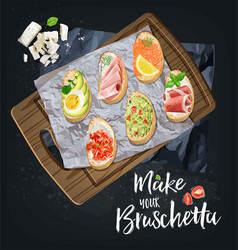 bruschetta with different fillings are prepared vector image