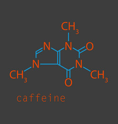 Caffeine molecule chemical structure background vector