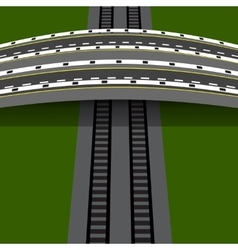 Car overpass crossing the railway An arch bridge vector