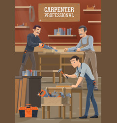 carpenters and woodworkers workers vector image