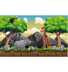 cartoon a wild animals at mountain cliff vector image