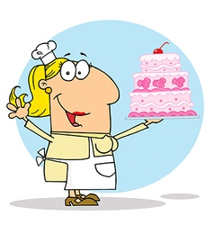 Cartoon cake maker vector image