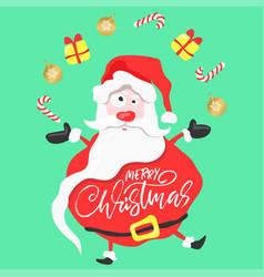 cartoon fun santa juggles christmas gifts and vector image