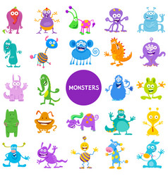 Cartoon monster and alien characters large set vector