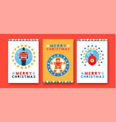 christmas modern watercolor folk art card set vector image