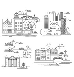 City design elements linear style vector