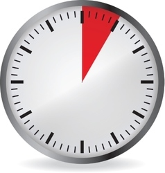 Clock with red 5 minute deadline vector