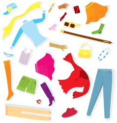 Clothes sticker set vector image