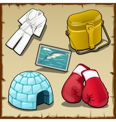 Clothing camp-kettle boxing gloves and other vector